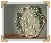 rustic wedding backdrop hexagon lights and greenery